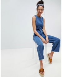 e2d6b574f09 Missguided Open Back Cropped Denim Jumpsuit in Blue - Lyst