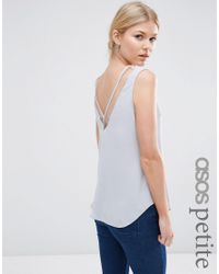 ASOS | Gray V Front And V Back Tank With Mesh Insert | Lyst