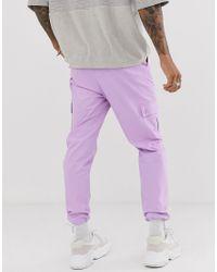 Pantalon cargo fuselé avec cordons de serrage - Violet ASOS pour homme en coloris Purple