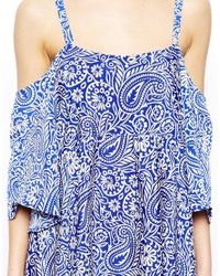ASOS Blue Dress with Cold Shoulder Detail in Paisley Print