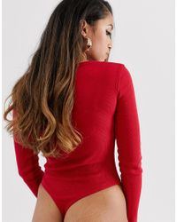 Missguided - Popper Detail Ribbed Body In Red - Lyst
