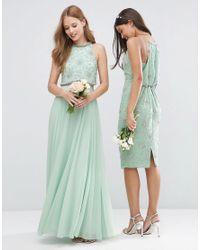 ASOS Green Wedding Embellished Drape Back Midi Dress