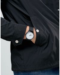 ASOS Minimal Watch In Black With White Face for men