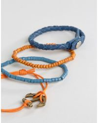 ASOS - Blue Leather And Beads Bracelet Pack With Anchor Clasp for Men - Lyst