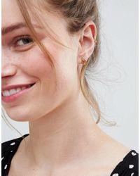 ASOS DESIGN - Metallic Pack Of 3 Palm Leaf And Pineapple Stud Earrings - Lyst