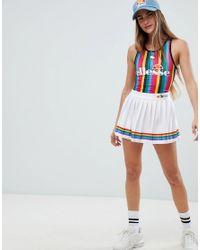 Ellesse White Tennis Skirt With Rainbow Pleats