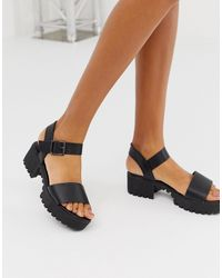 Missguided Black Cleated Sole Sandal