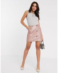 Розовая Стеганая Мини-юбка Из Искусственной Кожи -розовый River Island, цвет: Pink