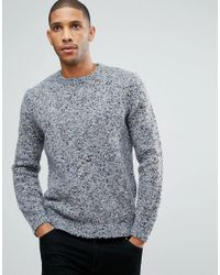 ASOS - Asos Heavyweight Textured Sweater In Pale Blue for Men - Lyst