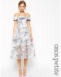 ASOS Gray Salon Bardot Dress In Organza Floral Midi