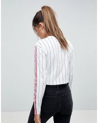 ASOS - White Asos Top In Vertical Stripe With Bright Taping - Lyst
