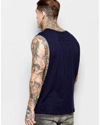 Religion Blue Vest With Extreme Arm Holes for men