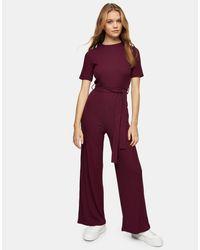 Комбинезон В Рубчик Сливового Цвета -коричневый Цвет TOPSHOP, цвет: Purple