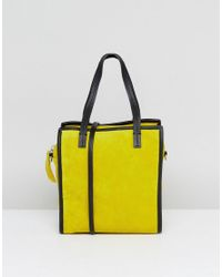 ASOS Green Mini Suede Boxy Shopper Bag With Detachable Strap
