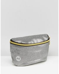Mi-Pac Gray Pebbled Bumbag In Silver