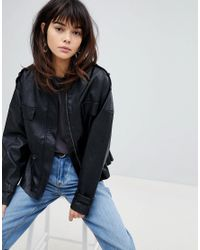 Vero Moda Black 80s Faux Leather Waist Detail Jacket