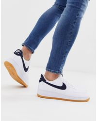 Nike Blue Air Force 1 Sneakers With Navy Swoosh And Gum Sole for men