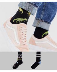 ASOS White 2 Pack Sport Sock With Ombre Dinosaur Design Save for men