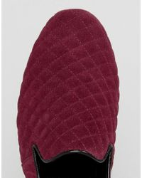 Frank Wright Blue Slipper Shoes In Burgundy Quilted Suede for men
