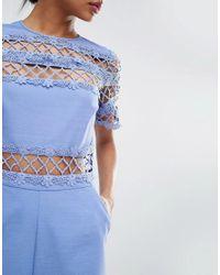 ASOS - Blue Premium Occasion Lace Panel Jumpsuit - Lyst