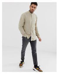 Eddison-W - Camicia con collo serafino di HUGO in Natural da Uomo