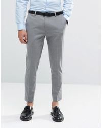 ASOS - Gray Super Skinny Crop Smart Trousers In Grey for Men - Lyst