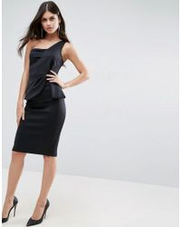 ASOS - Black One Shoulder Fold Peplum Scuba Midi Dress - Lyst
