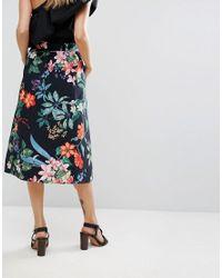 Mango Black Tropical Midi Skirt