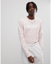Carhartt WIP Long Sleeve College T-shirt In Pink for men
