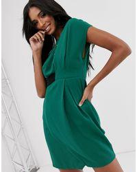 ASOS Origami - Midi-jurk Met Label Opzij in het Green
