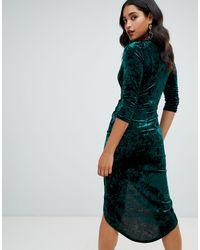 TFNC London Green Velvet Midi Wrap Dress In Emerald