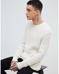 AllSaints - Natural Waffle Sweater In Cream for Men - Lyst