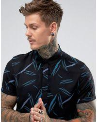 ASOS - Black Regular Fit Viscose Shirt With Line Print for Men - Lyst