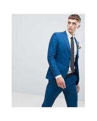 Синий Облегающий Пиджак Moss London Moss Bros для него, цвет: Blue