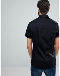 ASOS - Skinny Shirt In Black With Short Sleeves for Men - Lyst