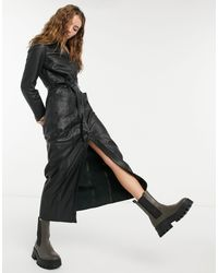 Goosecraft Black Longline Leather Shirt Dress