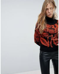 Vila Black Embroidered Knit Print Sweater