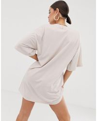 Public Desire Natural X Lissy Roddy Oversized T-shirt Dress With Lissy Roddy Print