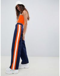 The Ragged Priest Blue Trousers With Side Stripe