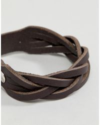 ASOS - Brown Leather Plaited Bracelet With Buckle Fastening for Men - Lyst