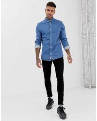 Camicia di jeans attillata blu di River Island in Blue da Uomo
