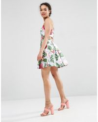 ASOS | Multicolor Strappy Prom Dress In Floral Print | Lyst
