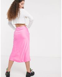 Розовая Атласная Юбка Миди -розовый Monki, цвет: Pink