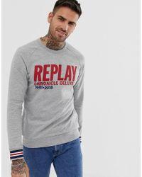 Sweat-shirt ras Replay pour homme en coloris Gray