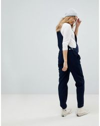 ASOS Blue Cord Dungaree In Navy