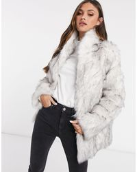 ASOS Gray Stand Faux Fur Collar Coat