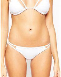 ASOS White Mix And Match Mesh Insert Brazilian Bikini Bottom