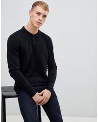 Polo en mélange de laine à manches longues - Noir Esprit pour homme en coloris Black