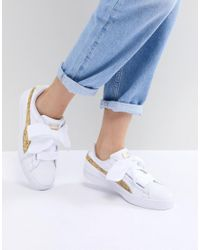 PUMA Basket Heart Trainers In White With Gold Glitter