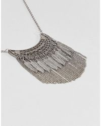 Pieces - Metallic Layered Festival Necklace - Lyst